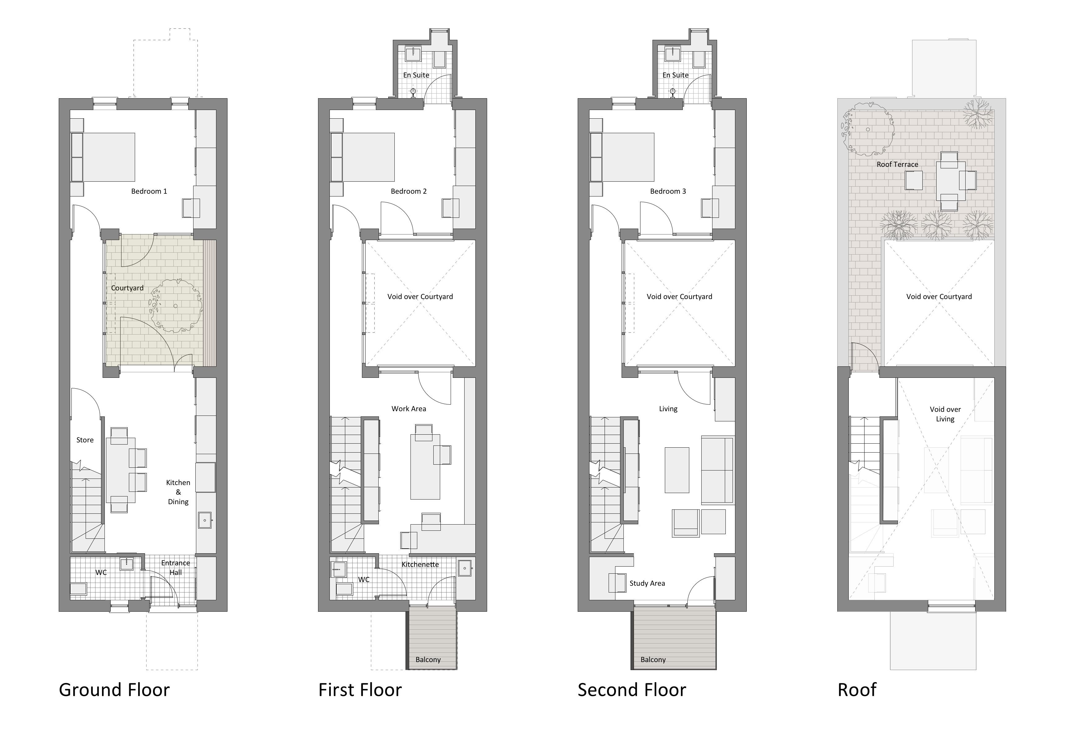 Courtyard row house marc medland architect for House building plans uk