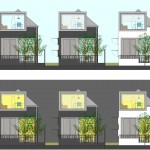 Small Houses with a Large Dormer_Grouped Elevations (By Day and Night)